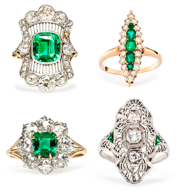 Trumpet_and_Horn_antique_emerald_diamond_engagement_rings