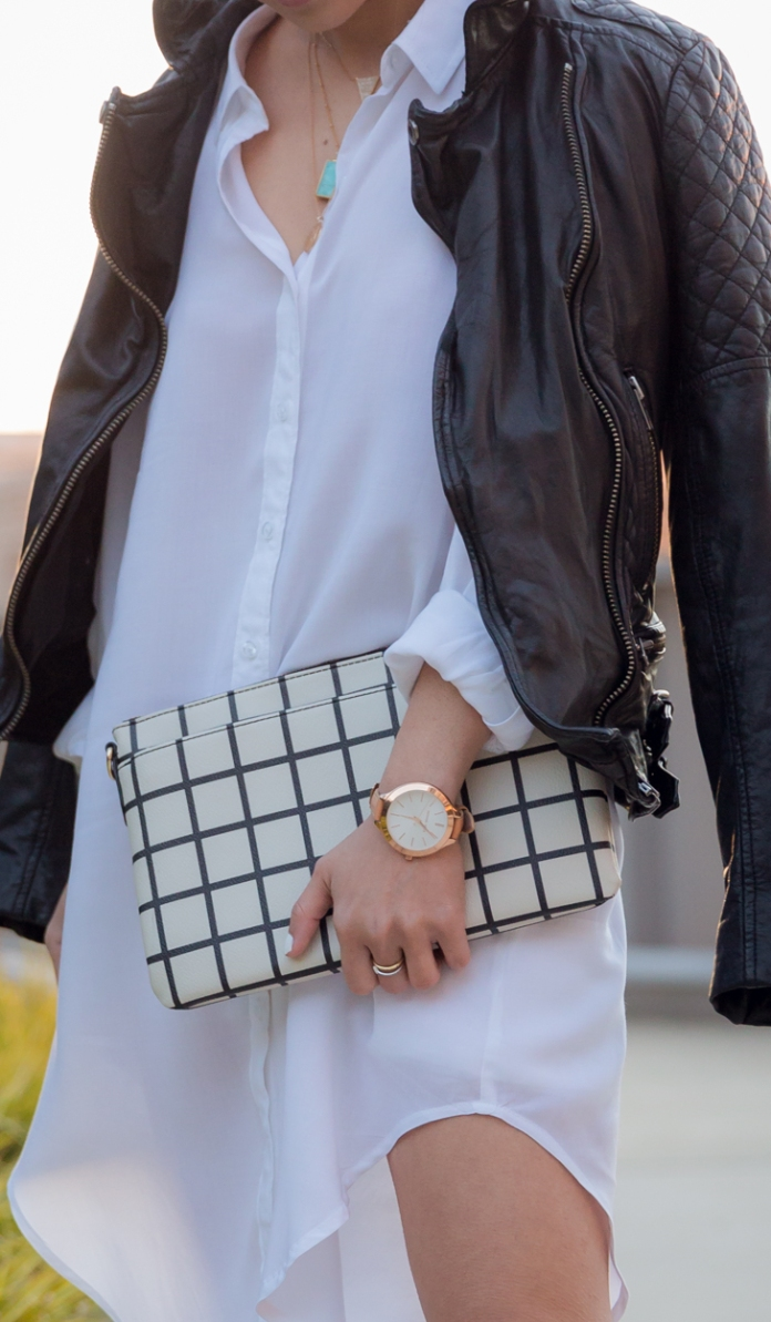 moto jacket & checkered clutch